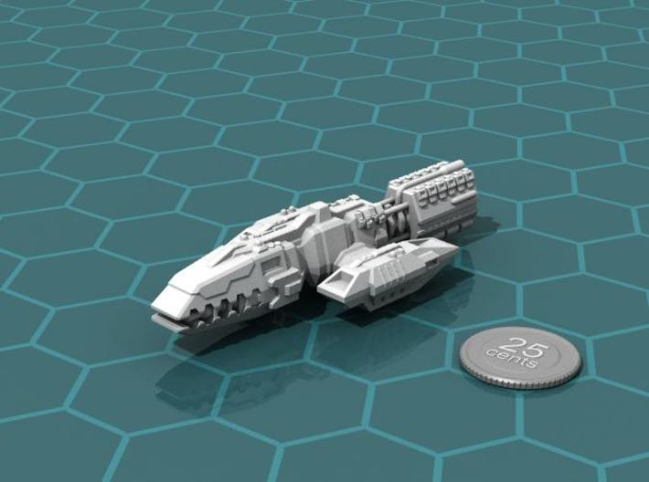 Colonial Battlewagon 3d printed Render of the model, plus a virtual quarter for scale.