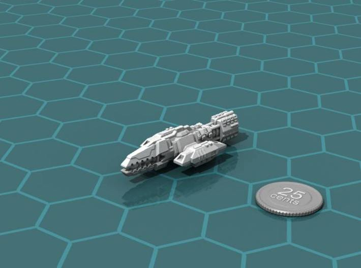 Colonial Warrior 3d printed Render of the model, plus a virtual quarter for scale.
