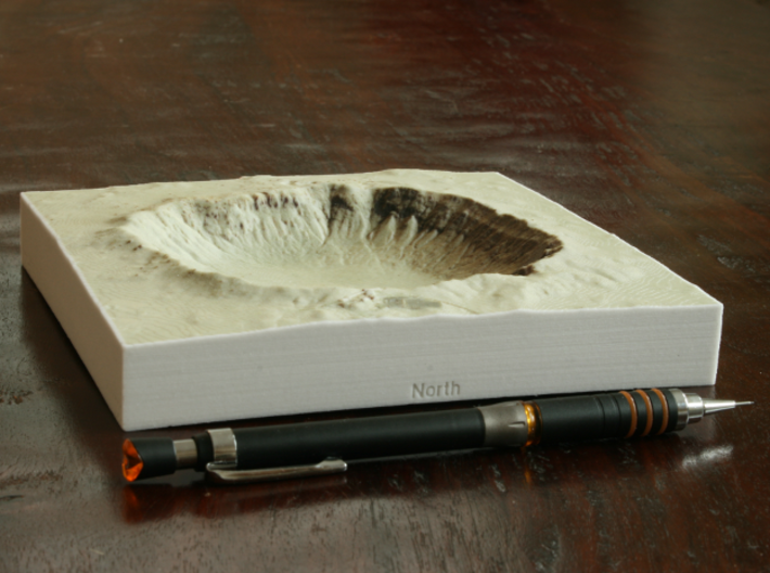 6'' Meteor Crater, Arizona, USA, Sandstone 3d printed Photo of actual print, looking South into the crater
