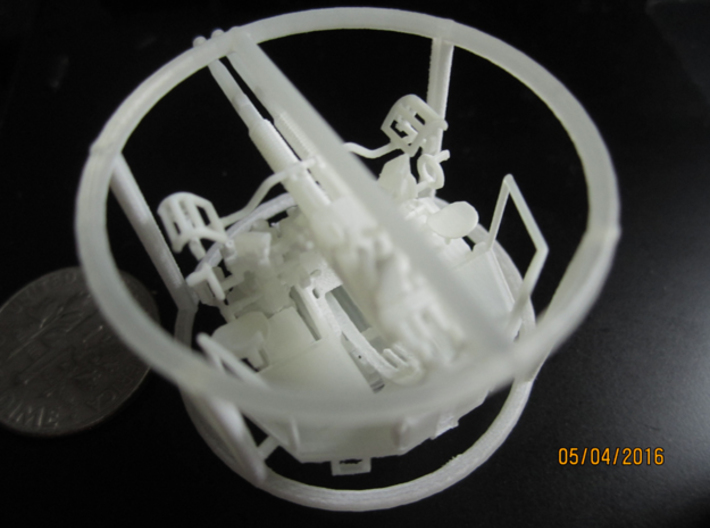 1/100 40mm Bofors Twin Mount USN WWII ships FUD 3d printed