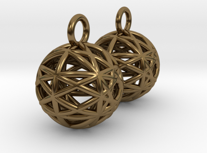 Armilliary Earrings 3d printed