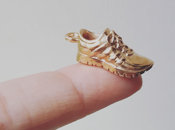Running Shoe Charm  3d printed Polished Bronze