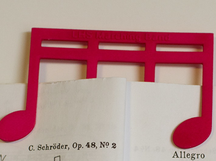 Music Book Page Holder/Clip With Custom Text 3d printed
