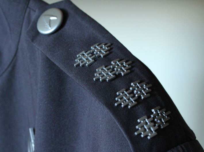 Starfleet Rank Pips 3d printed Actual printed pieces; attached with pin backs