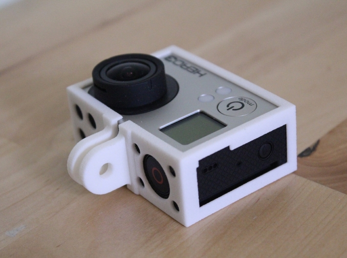 GoPro Hero3 & Hero4 - Frame'ish - d3wey 3d printed Cut outs are designed to make chunky USB cables fit