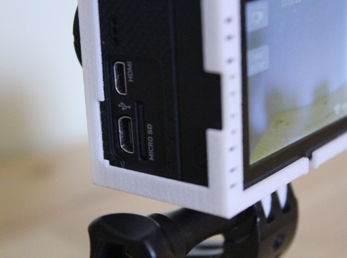"""GoPro Hero3 """"Touch'n'Batt"""" Frame'ish (Frame) 3d printed The notch shown here is designed for the Battery backpac USB port"""