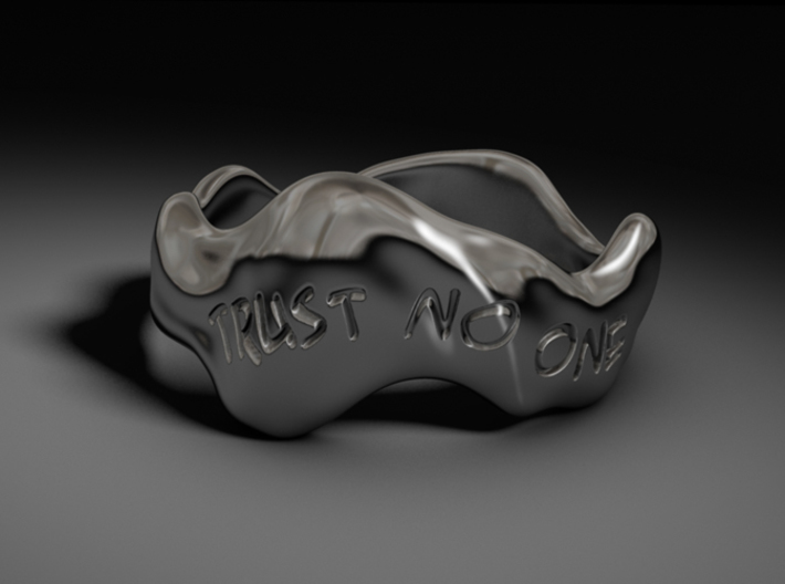 """Trust No One"" Liquid Ring (Size 10) 3d printed CG Rendering"