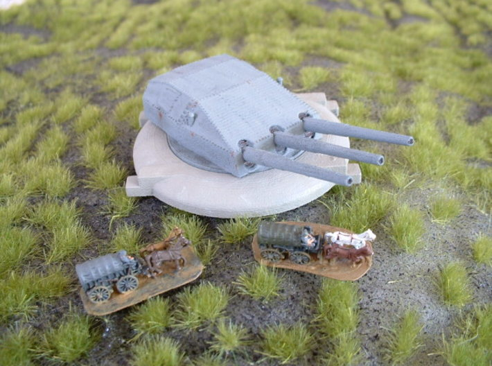 """German 28cm (11"""") Coastal Battery 1/285 6mm 3d printed without horses & wagons"""