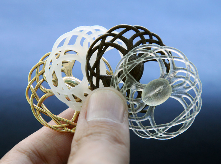 The Seed of Yggdrasil Pendant 3d printed 18K Gold Plated, Frosted Detail, Bronze Steel & Transparent Acrylic