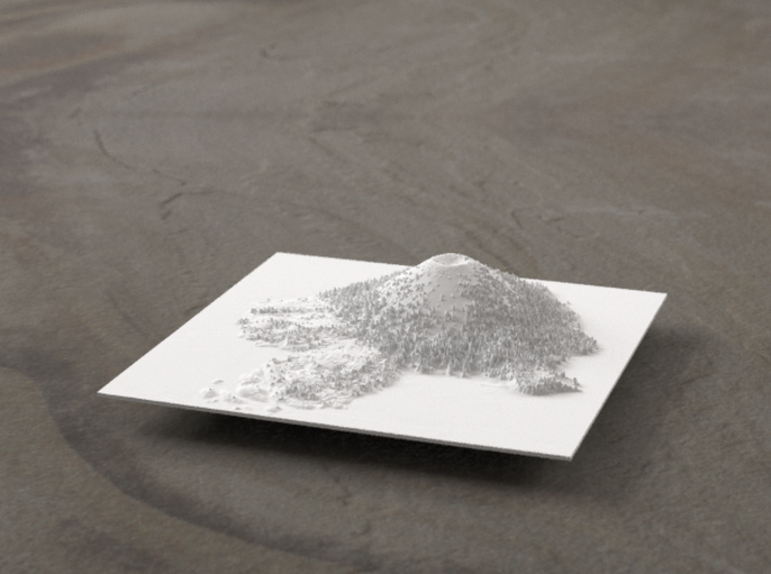 4'' Wizard Island, Oregon, USA 3d printed Radiance rendering, looking East