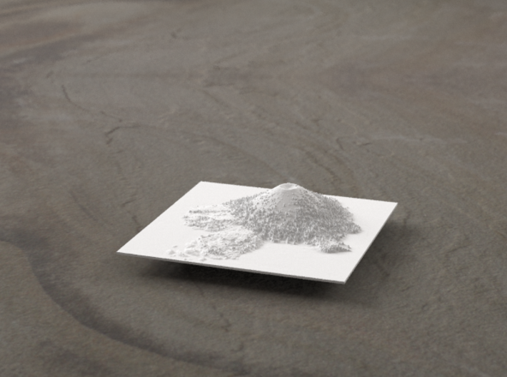 3'' Wizard Island, Oregon, USA 3d printed Radiance rendering, looking East
