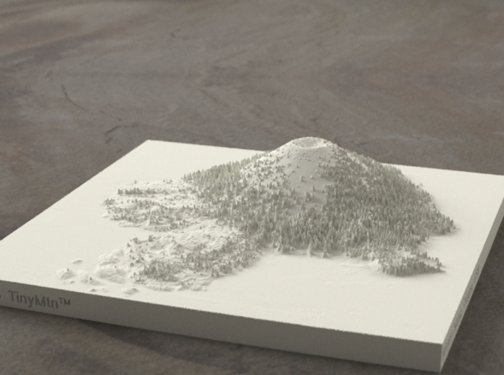 6'' Wizard Island, Oregon, USA, Sandstone 3d printed Radiance rendering, looking East