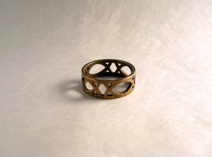 Art Deco Styled Ring 3d printed Art Deco Ring in Stainless Steel