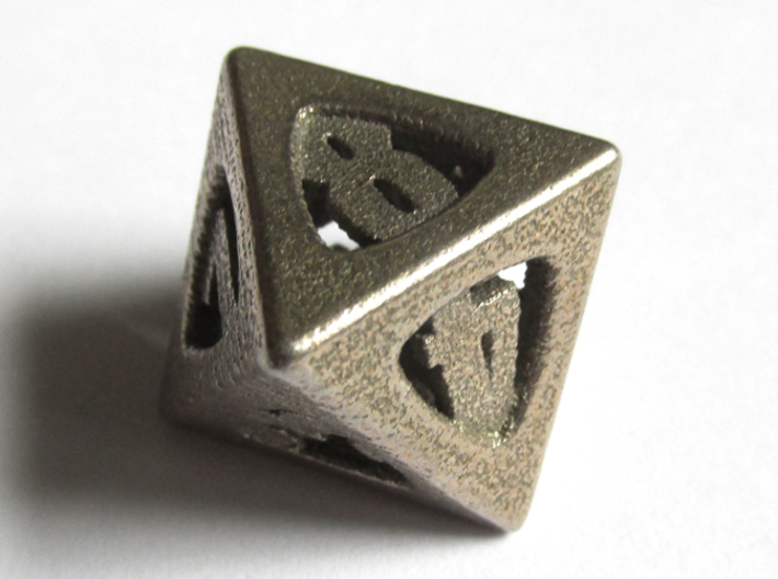 Thoroughly Modern d8 3d printed In Stainless Steel