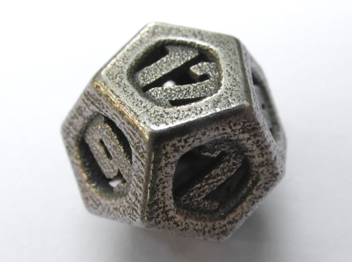 Thoroughly Modern d12 3d printed In Stainless Steel