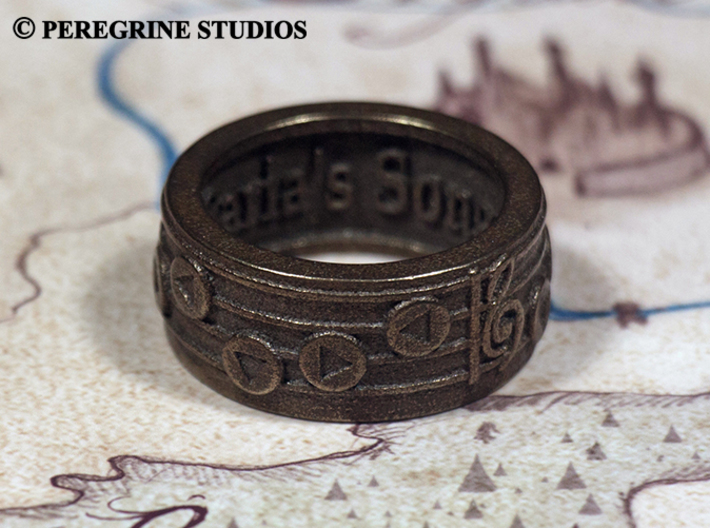 Ring - Saria's Song 3d printed Polished Bronze Steel