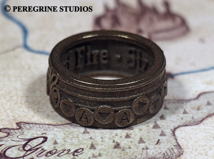 Ring - Bolero of Fire 3d printed Polished Bronze Steel
