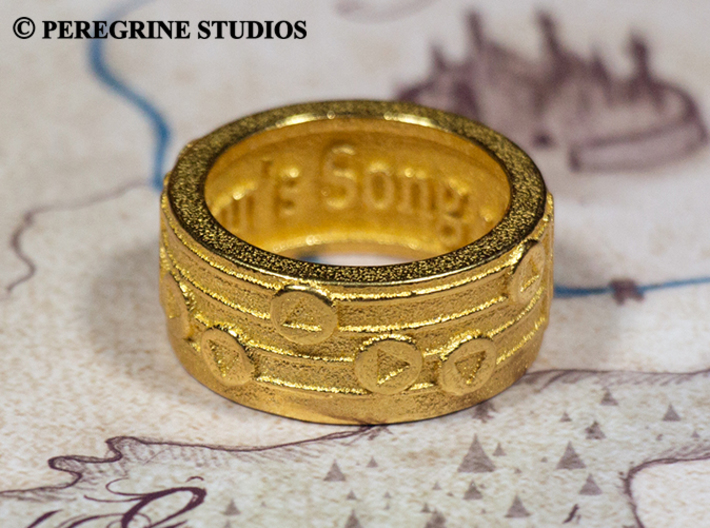 Ring - The Sun's Song 3d printed Polished Gold Steel
