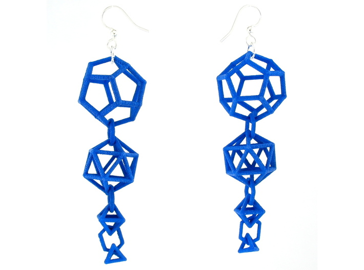 Platonic Progression Earrings - Clean 3d printed Earrings printed in Blue Strong and Flexible, with fishhook earwires added