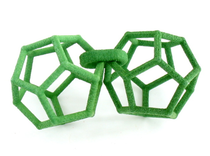 Dodecahedron Earrings, clean style 3d printed Earrings printed in Green Strong and Flexible, shown as printed looped together