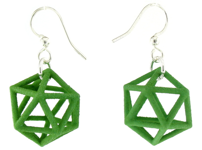 Icosahedron Earrings, clean style 3d printed Earrings printed in Green Strong and Flexible, with earwires added
