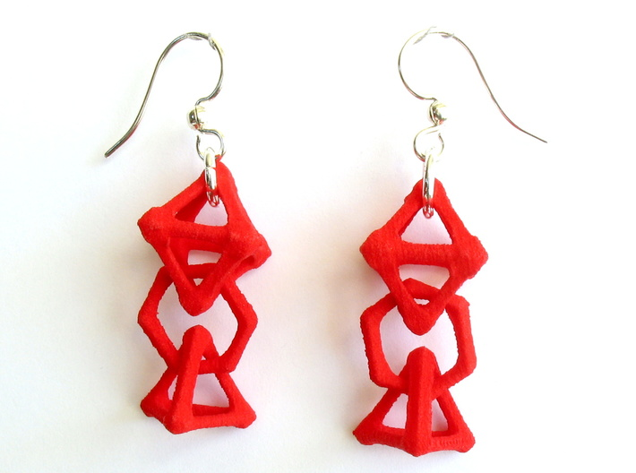 Baby Platonic Solids Earrings, bone style 3d printed Earrings printed in Red Strong and Flexible, with earwires added