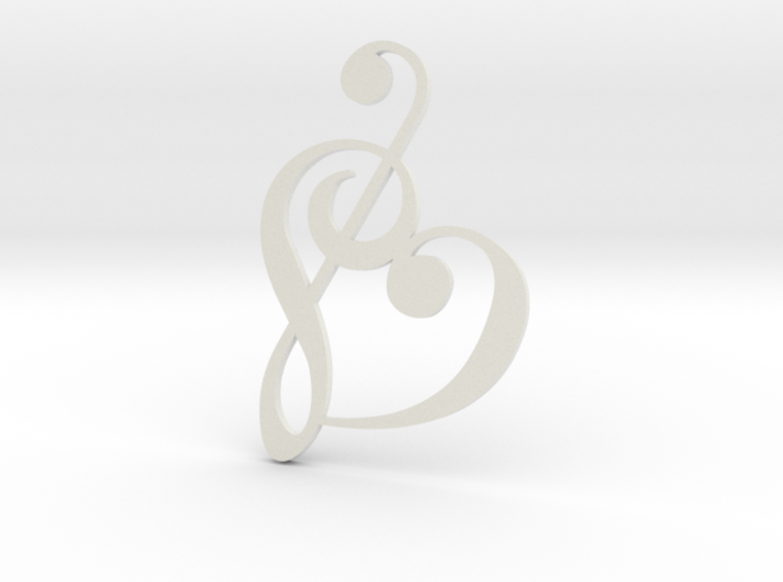 Heart Clef Pendant 3d printed