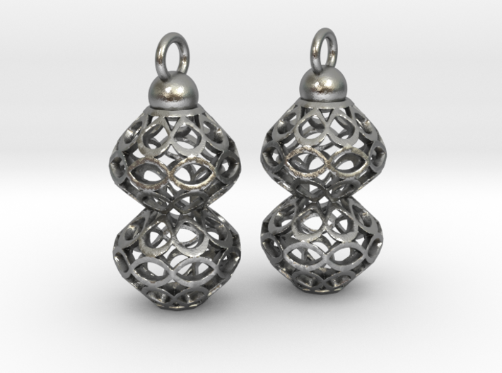 Voronoi style Double Bead Earrings 3d printed