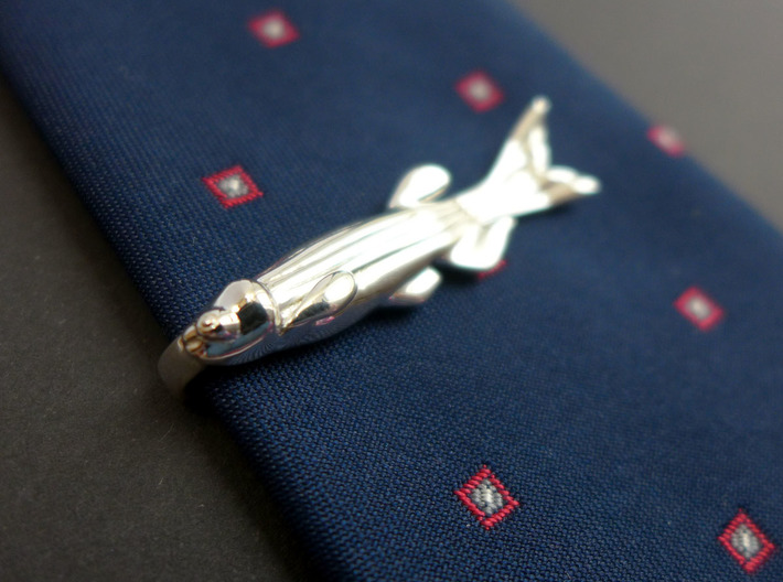 Zebrafish Tie Bar - Science Jewelry 3d printed Zebrafish tie bar in polished silver