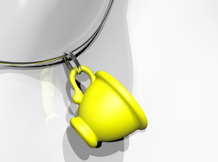 Coffee Cup Pendant 3d printed Yellow Strong & Flexible Polished