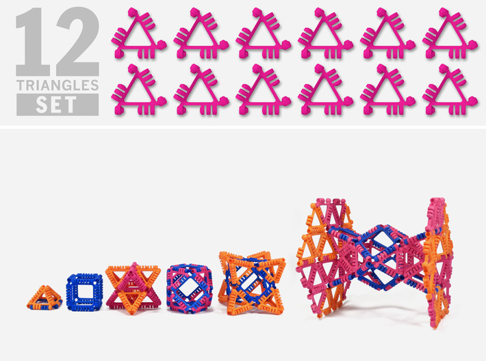 TriToy Building Polygons for Adults (12 TRIANGLES) 3d printed Only two shapes, a triangle and a square, and endless possibilities to build cool stuff!