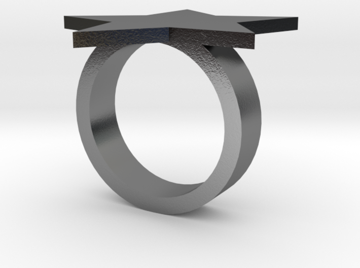 Star Ring (Silver) Size XS 3d printed