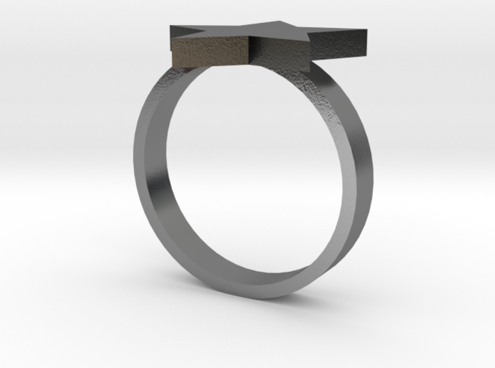 Silver Star Ring (Size S) 3d printed