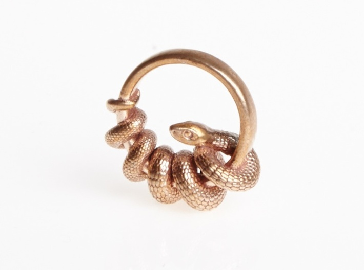Reverse Snake Ring 3d printed Raw Bronze