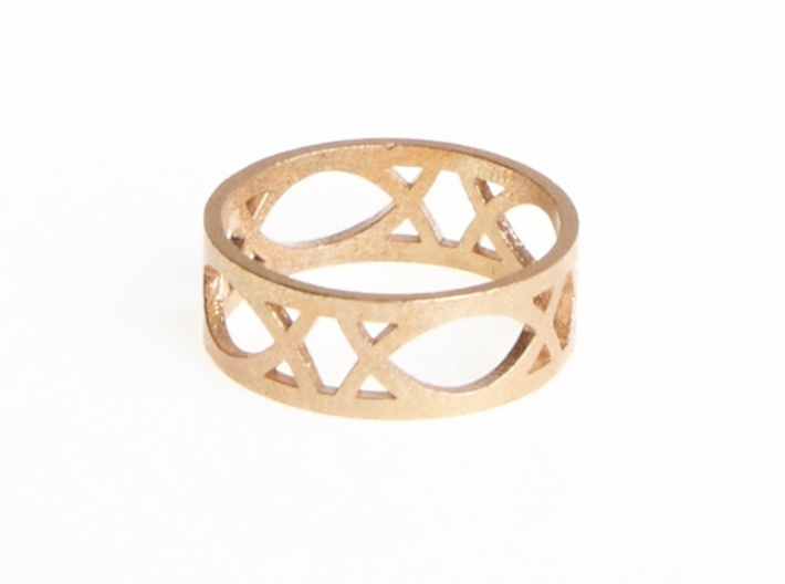 Art Deco Styled Ring  3d printed Deco Ring in Raw Bronze