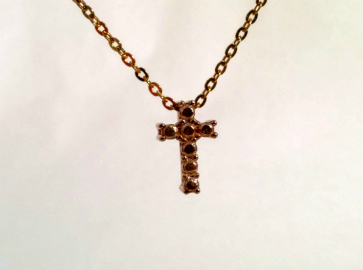 "Pendentif Mini Cross, small ""diamonds"" 3d printed"