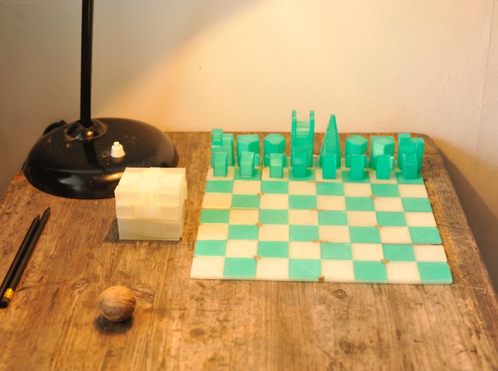 Foldable Chess Set Pieces (16 Pieces) 3d printed All 16 pieces fit into this little cube!