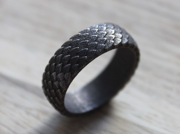 Nidhog - Size 8 3d printed Polished Bronze Steel Ring