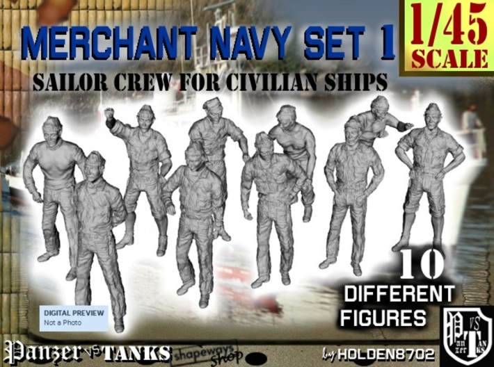 1-45 Merchant Navy Crew Set 1 3d printed