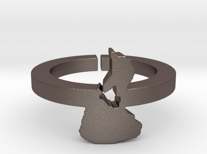 3D Printed Metal Block Island Ring Size 7 3d printed