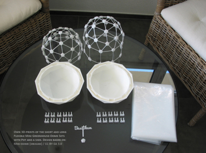 MGD-20: Plant-Pot for Mini Greenhouse-Dome 3d printed Flexible Mini Greenhouse-Dome with Pot (Sets short and long). Own 3D-prints with white/transparent PLA.