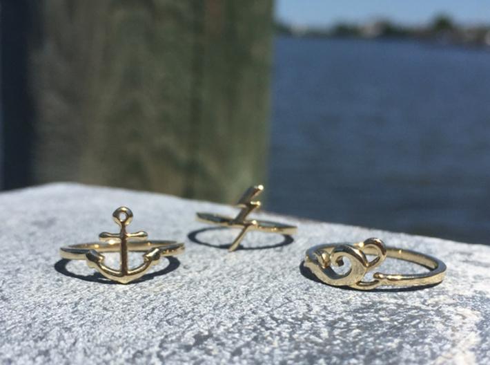 Ocean Waves Ring (Troubled Waters Trio) 3d printed