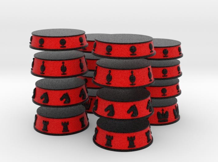 Chess Bases Black over Red - 1 inch 3d printed