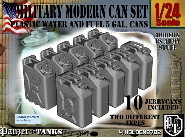 1-24 Military Fuel+Water Can SET 3d printed
