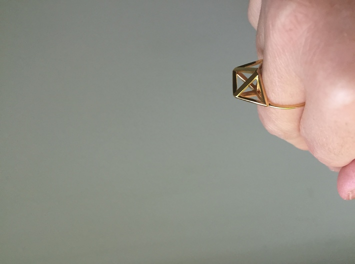 Amplituhedron Ring  3d printed Amplituhedron Ring -Side view