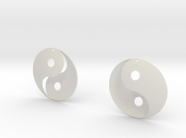 Yin Yang Earrings 3d printed