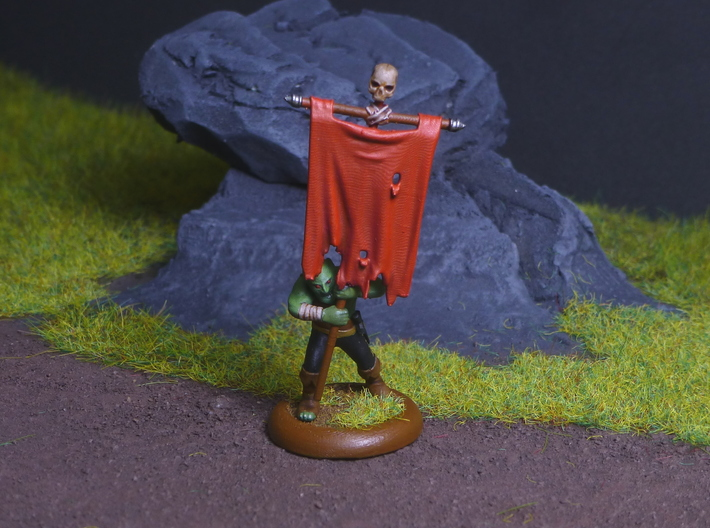 Goblin Command Squad 3d printed Goblin standard bearer printed in Hi-Def Acrylate