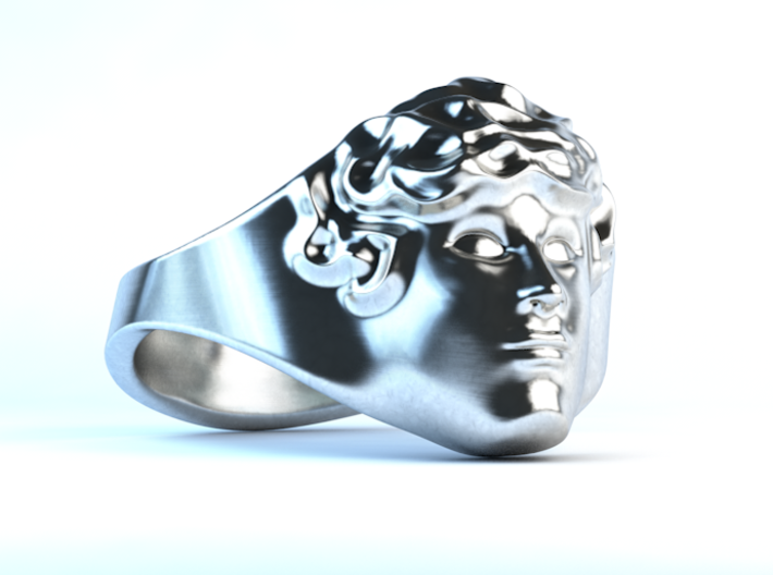APOLLUS RING 3d printed Polished Silver