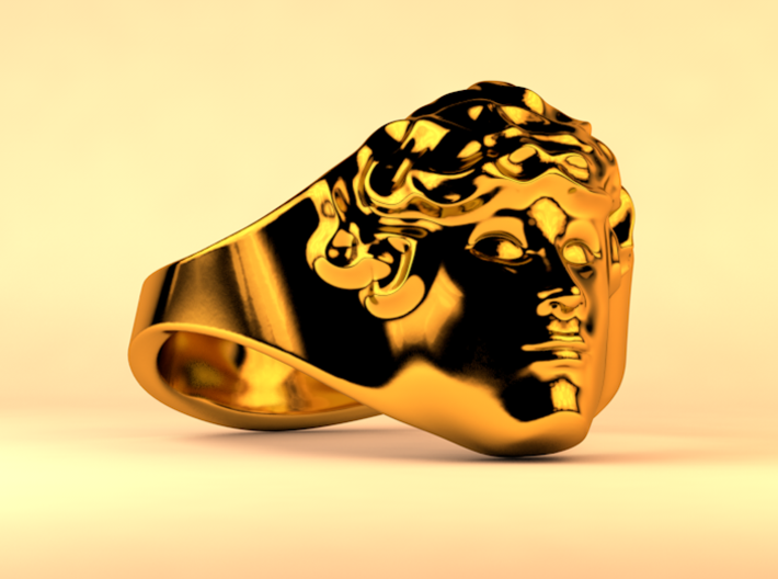 APOLLUS RING 3d printed Polished Gold