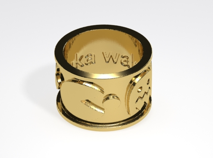 Pac-man inspired Ring Size 10 3d printed Sample brass render